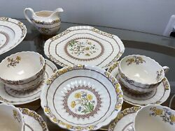 Spode Copeland Buttercup China Serving Lot Cake Plate Creamer Cups Saucers Vtg