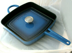 Simply Calphalon Blue Enamel Cast Iron 11-inch Grill Pan And Press. New Old Stock.