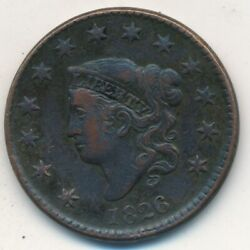 1826 Coronet Head Large Cent-very Nice Circulated Large Cent-ships Free Inv4