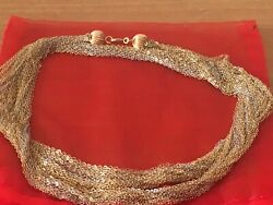 14k Yellow White Gold Multi Thread Chains Heavy Long Necklace 26.6 Grams