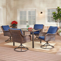 🌹 Patio Furniture Set 5-piece Table 4 Swivel Chairs Outdoor Wicker Dining Set
