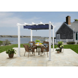 10and039x12and039 Pergola Outdoor Backyard Gazebo With Easy Glide Retractable Canopy Shade