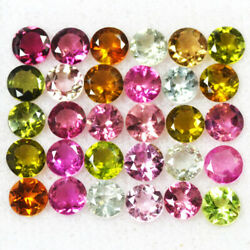 Natural Multi Color Tourmaline 4 Mm Faceted Round Cut Aaa Loose Gemstone Lot