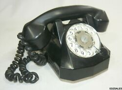 Vintage Black Monophone Automatic Electric Rotary Dial Telephone