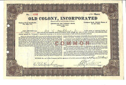 Delaware 1923 Old Colony Incorporated Stock Certificate