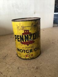 Vintage Pennzoil Motor Oil One Quart 1 Qt Tin Can W/ Bell Graphics, Z-7,