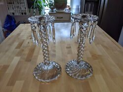 Pair Of Large Antique Art Glass Candle Sticks