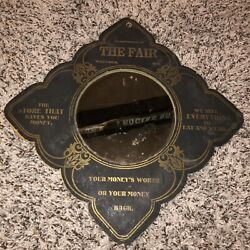Antique Waupaca Wi Wis Compliments Of The Fair Advertising Store Mirror Sign