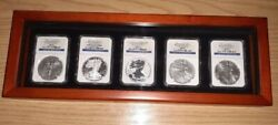2011andnbsp American Silver Eagle 25th Anniversary 5 Coin Setandnbspngc Pf69 And Ms69andnbsp