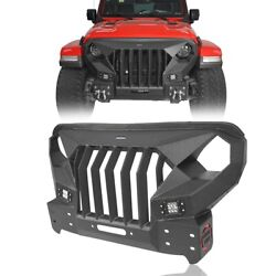 Fit Jeep Wrangler And Gladiator Jl/jt 2018-2021 Front Bumper + Grill Combo Design