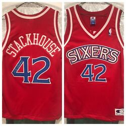 Jerry Stackhouse Signed Vintage Sixers Authentic Jersey Beckett Loa