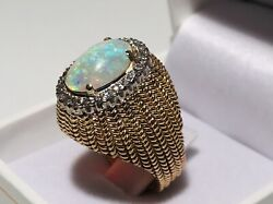 14k Yellow Gold Custom Made Dome Ring W/fiery White Opal Surrounded By Diamonds