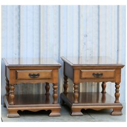 Vintage Maple Two Tier Rectangular End Tables W/drawer