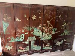 Antique 6 Panel Chinese Folding Screen - Carved And Painted - Animals, Warriors