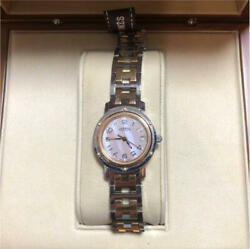 Hermes Clipper Watch Used Pink Shell Limited Model Lady's Rare With Box