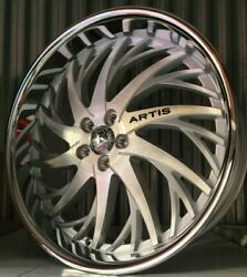 24 Inch Silver Brushed Artis Decatur Wheels Rims 5x114.3 5x4.5 5x115 22 26