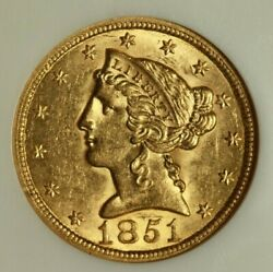 1851 5 Liberty Gold Ngc Ms61 Very Scarce Uncirculated Example