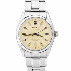 Rare 1957 Rolex Oyster Perpetual 34mm Cream Patina Stainless Steel Watch 6564