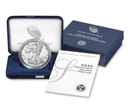 2020 W American Silver Eagle 1 Ounce Coin In Ogp With Coa Dollar Proof Us Mint