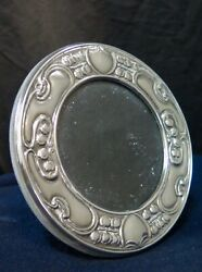 English Round Sterling Silver Art Nouveau Style Frame By Artin