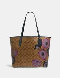 New Coach City Tote In Signature Canvas With Kaffe Fassett Print W/wristlet