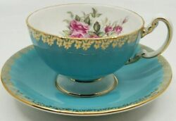 Aynsley Cabbage Rose Pink Turquoise Blue Cup Teacup And Saucer Rare And Beautiful