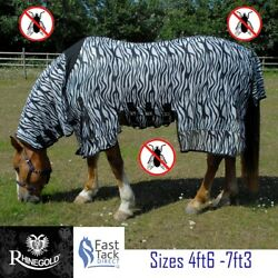 Zebra Print Horse Fly Rug Rhinegold Combo Neck Cover Belly Protection 4ft6-7ft3