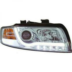 Lti Headlight With Daytime Running Light Optics For Audi A4 00-04 Clear Chrome