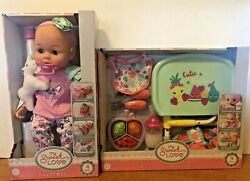 My Sweet Love Baby Doll In Pink Outfit With Unicorn And Portable Table Feeding