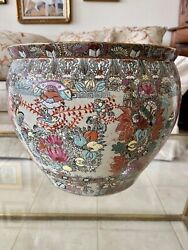 Chinese Qianglong Famille Rose Gold-embellished Porcelain Pottery Fish Bowl