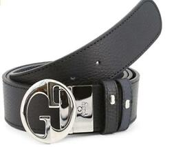 Reversible Leather Belt With Interlocked Gg Silver Buckle, Black/navy Blue