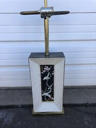 Vintage Oriental Theme Table Lamp Painted With Double Socket Mid Century Modern