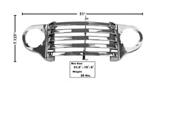 Ford Truck Grille Panel W/o Bar Crank Hole With Park Lamp Bezel Chrome 1948-1950