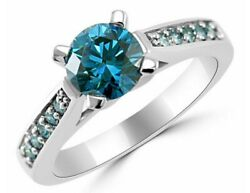 1.21ct Vs2 Blue Diamond Engagement Ring 14k White Gold Jewelry Point Ar472