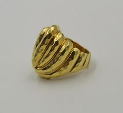 Vintage Henry Dunay 18k Yellow Gold Faceted Hammered Dome Ring Size 5