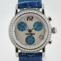 Star Ref 7039 Ladies Stainless Steel Mop Diamonds Dial Blue Leather