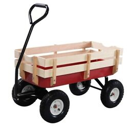 New Outdoor Garden Cart Pulling Wagon With Detachable Wood Railing Lightweight