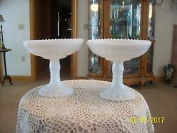 2 Milk Glass Vintage Square Cut And Beaded Edge Pedestal Compote Candy Dishes