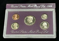 1989-s Us Mint 5-coin Proof Set In Original Box And Case—uncirculated J