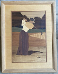 Nelson Hudson River Inlay Wood Marquetry Vintage Dress To Tee Woman Golfer Euc