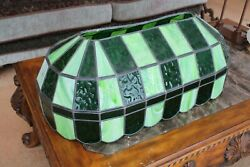 Oval Long Vintage Slag 3 Shades Green Stained Glass Hanging Light Fixture