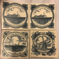 Fine Lot Four Holland America Line 125th Anniversary Tiles Varied Blue / White