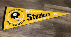 1975 Super Bowl Ix Pennant Pittsburgh Steelers Afc Champs New Orleans Rare