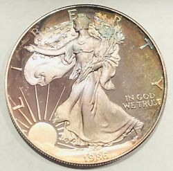 1986-s American Silver Eagle Proof Coin Obverse Toned