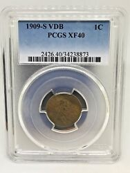 1909-s Vdb Wheat Cent In Pcgs Graded Xf-40 Key Date Low Mintage Coin