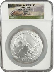 2015-p 25c Atb Quarter 5oz Silver Blue Ridge Ngc Sp70 First Day Of Issue