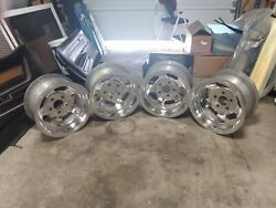 4 Vintage Us Indy 15x8 1/2 Slotted Rims 5x5 Chevy Truck Pattern Polished