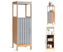 Bathroom Storage Cabinet Wood Freestanding Floor Linen Organizer Cupboard Pantry