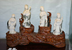 18.8 Natural Dushan White Jade Carved Palace Four Great Beauties Statue Set