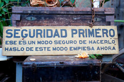 Vintage Hand Painted 42 Industrial Railroad Sign Seguridad Primero Safety First
